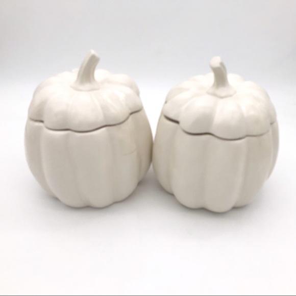 "NWT! Set of 2 8.25"" Ceramic Pumpkins Jars"